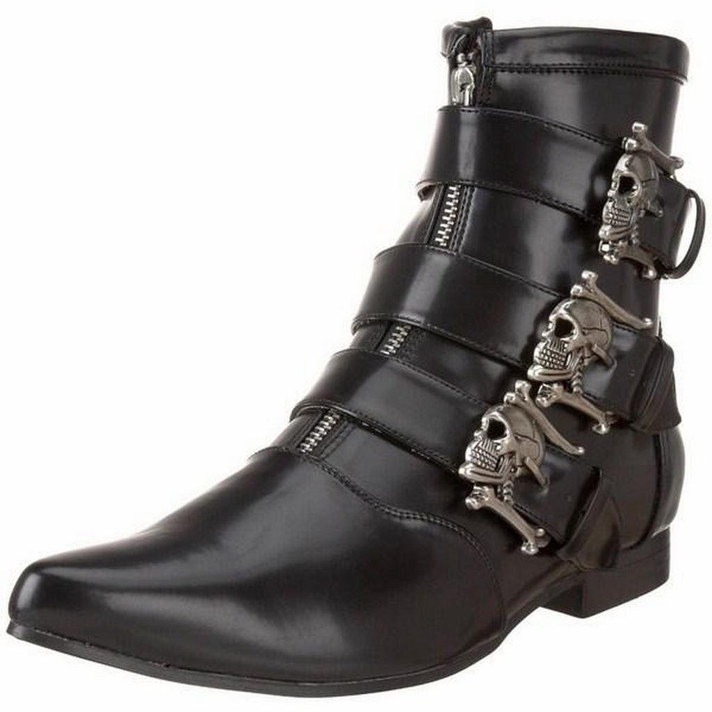 Black Ankle Boots Gothic Punk Rock Skull Buckled Vampire Men's Shoes Pointy Toe