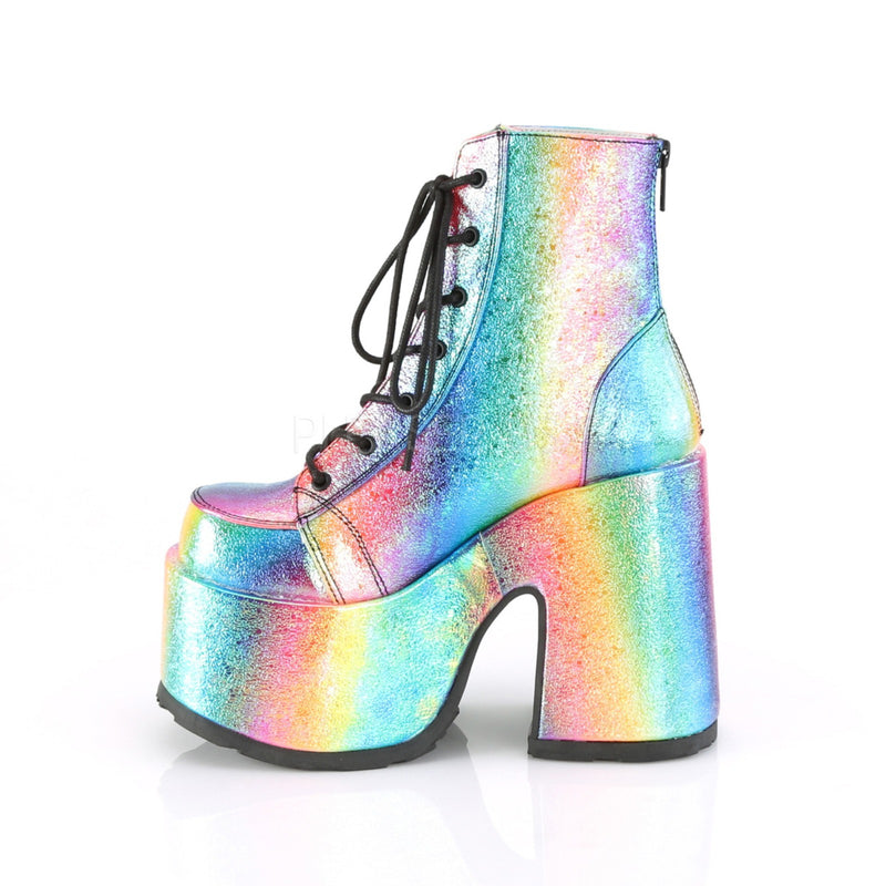 Rainbow Vegan Leather Lace Up Ankle Boots Platform Goth Punk Gothic Chunky Heel