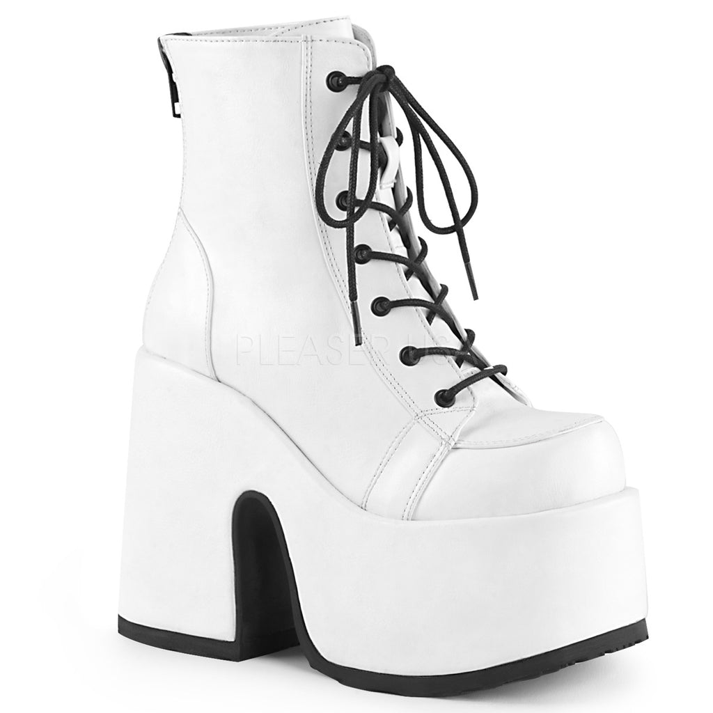 White Vegan Leather Women's Lace Up Ankle Boots Platform Goth Punk Chunky Heels