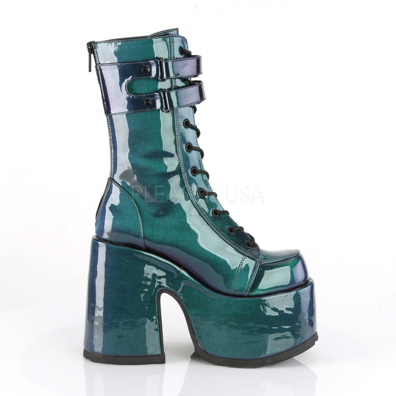 Purple Green Patent Women's Mid Calf Boots Lace Up Platform Goth Punk Block Heel