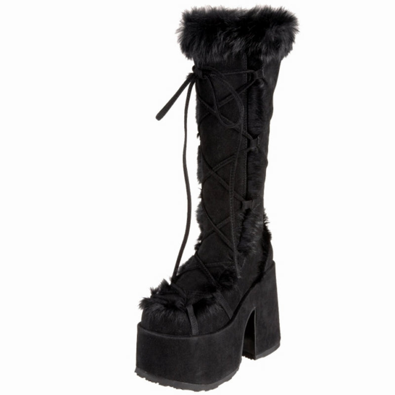 Black Suede Goth Dance Rave Club Go Go Knee High Boots Platform Fluffy Faux Fur