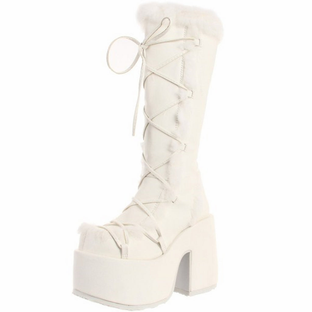 White Matte Goth Dance Rave Club Go Go Knee High Boots Platform Fluffy Faux Fur