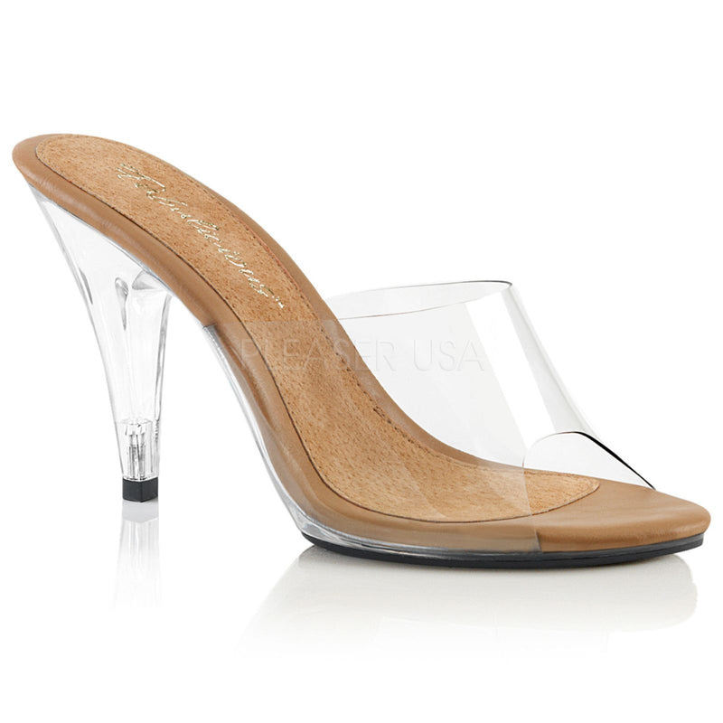 Clear Tan Dressy Fitness Competition Beauty Pageant Single Sole Slip On Sandal