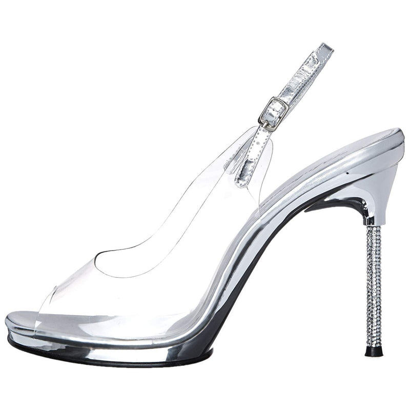 Clear Rhinestone Platform Peep Toe Slingback Pump Sandal Shoes Bridal Prom Event