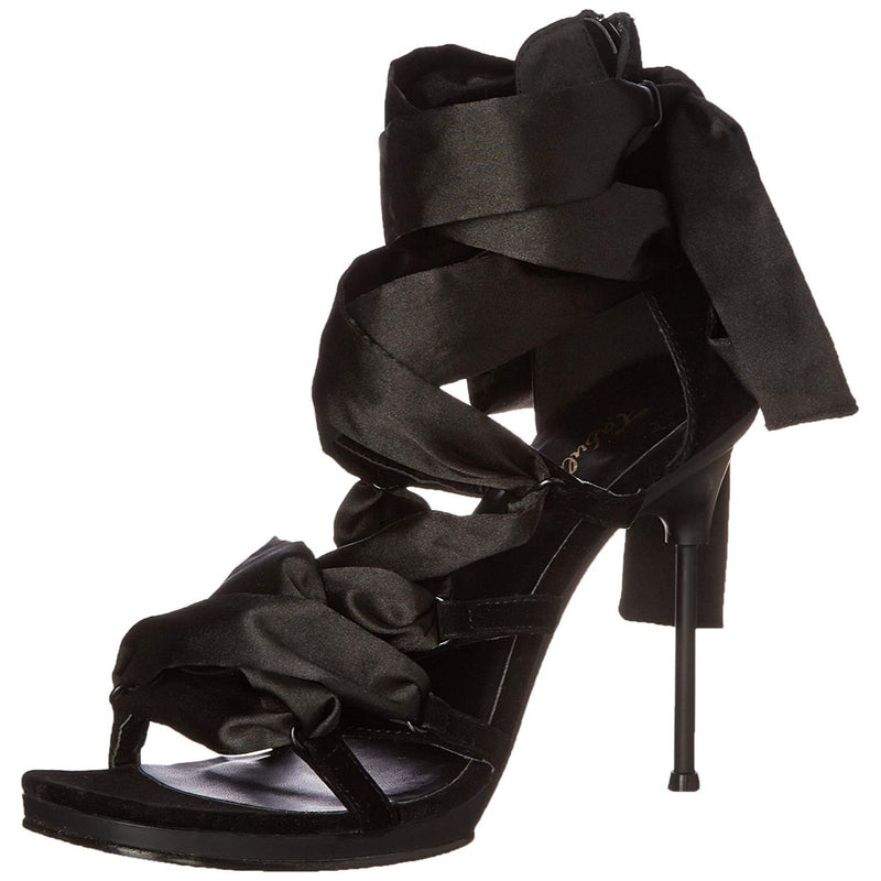Black Platform Criss Cross Lace Up Sandal Shoes Prom Bridal Womens High Heel