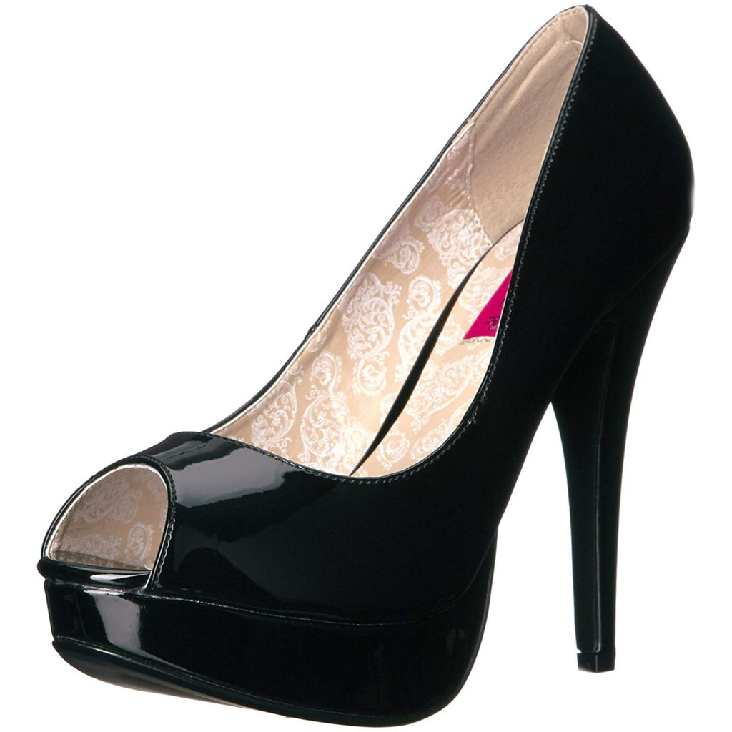 Black Patent Womens Peep Toe Pump Sexy Concealed Platform High Heels Shoes
