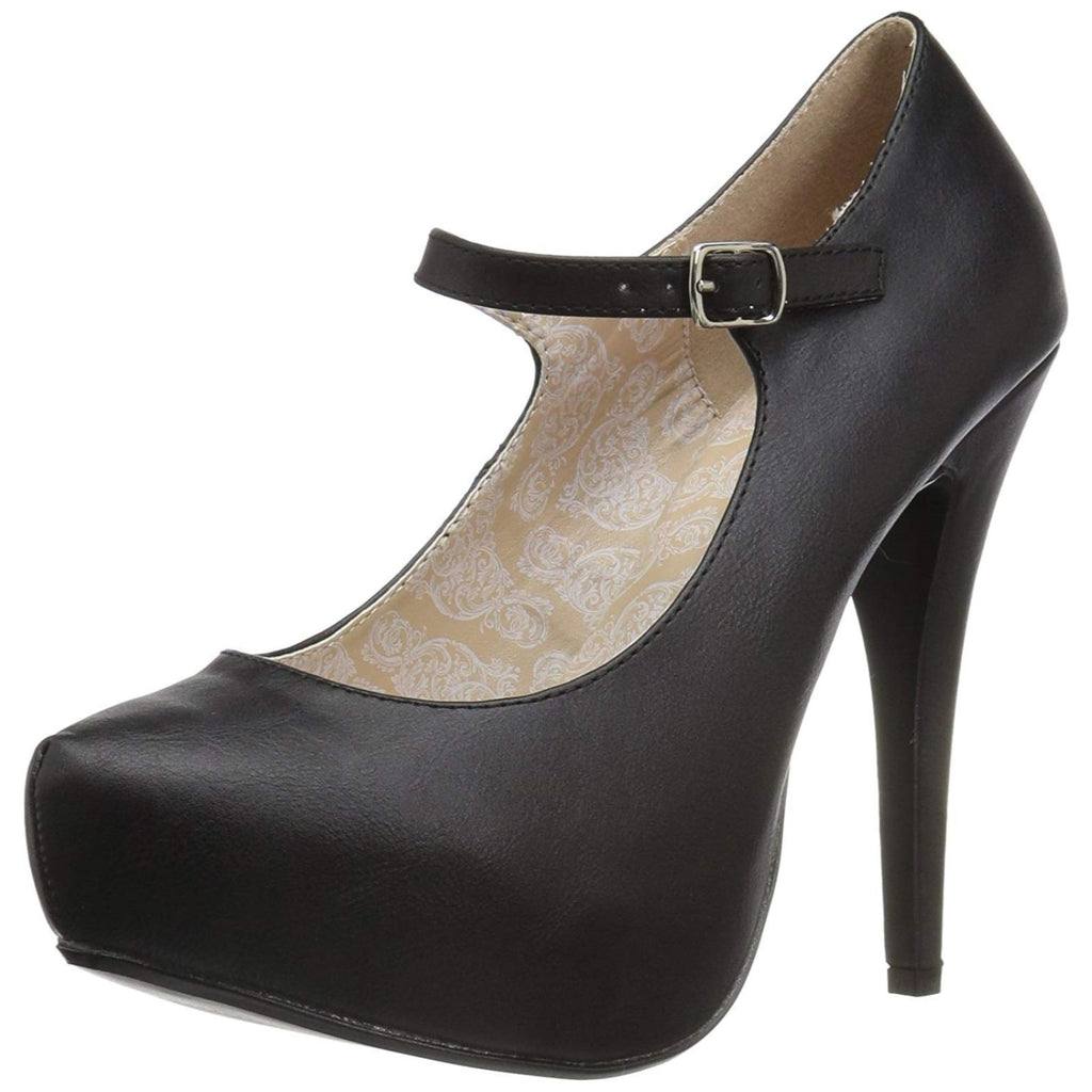 Black PU Women's Mary Jane Custome Pumps Concealed Platform High Heel Shoes