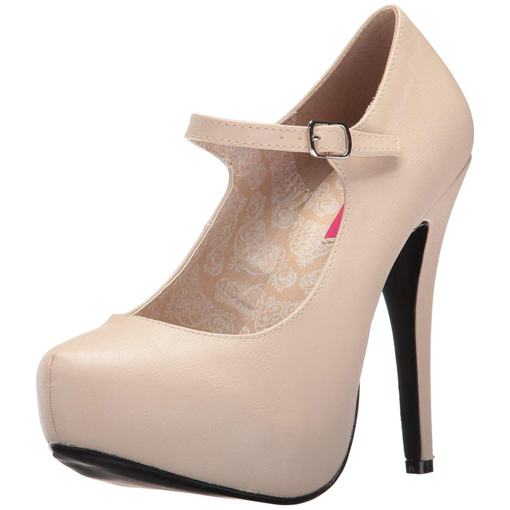 Cream PU Women's Mary Jane Custome Pumps Concealed Platform High Heel Shoes