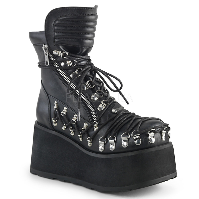 Black Vegan Leather Women's Platform Corset Style Lace-Up Ankle Boots Goth Punk