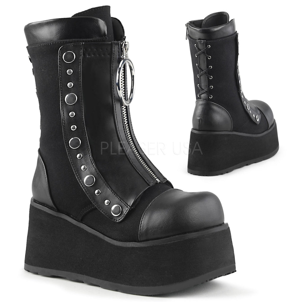 Black Vegan Leather Womens Lace-Up Mid Calf Boots Wedge Platform Goth Punk Biker