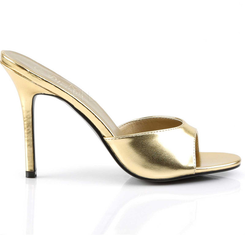 Gold Metallic Womens Slip On Sandal Slide Single Sole Stiletto High Heels Shoes
