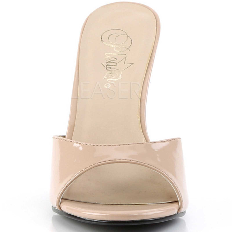Nude Patent Womens Slip On Sandals Slide Single Sole Stiletto High Heels Shoes