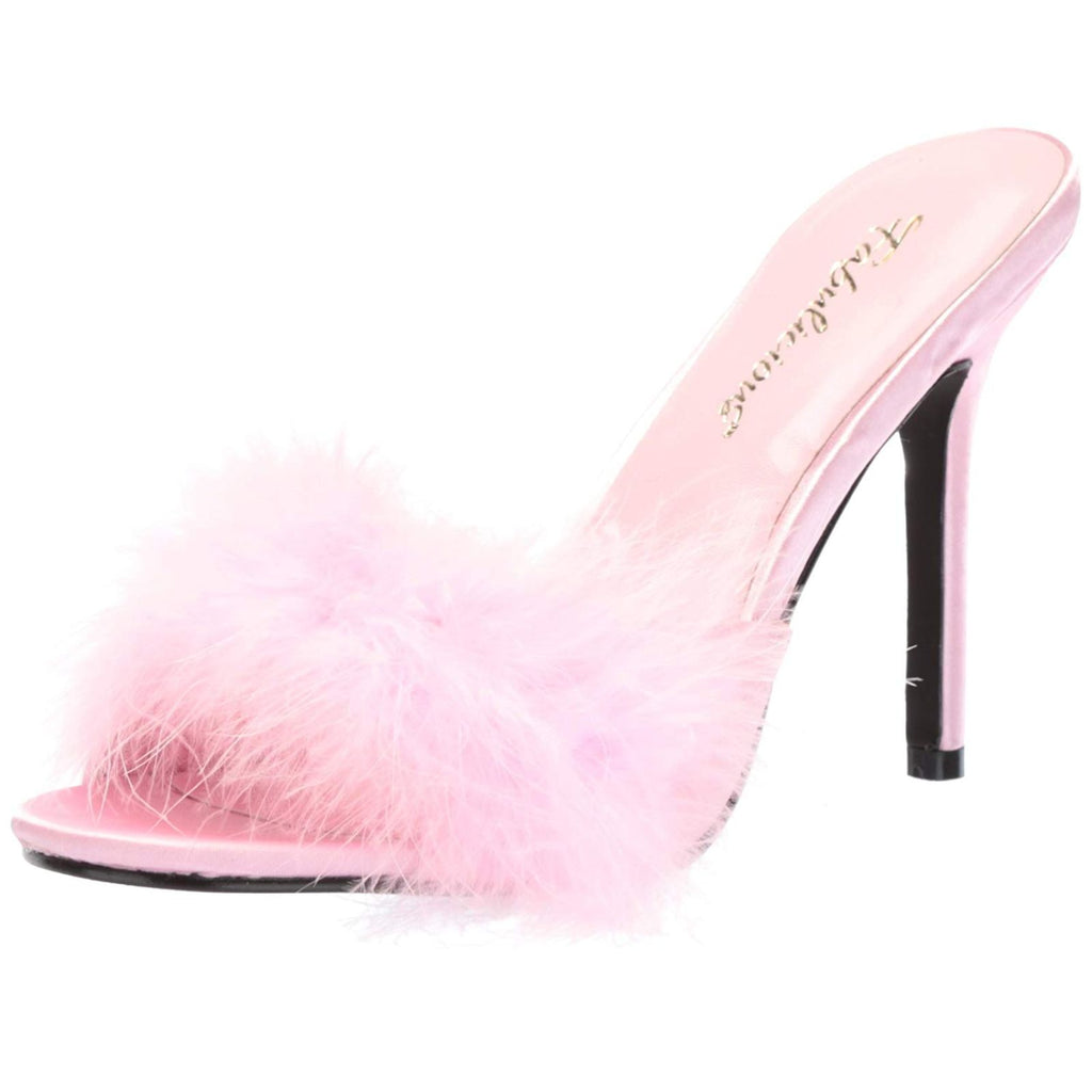Baby Pink Womens Sexy High Heels Stilettos Marabou Feather Slides Slippers Shoes