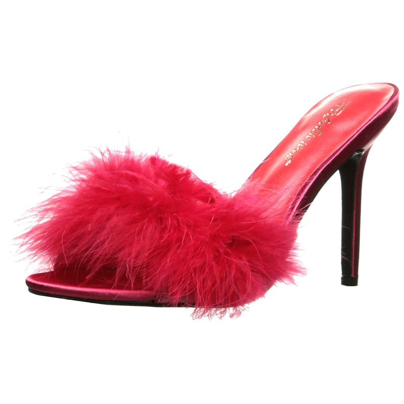 Red Matte Womens Marabou Feather Slides Slippers Shoes Sexy High Heels Stilettos