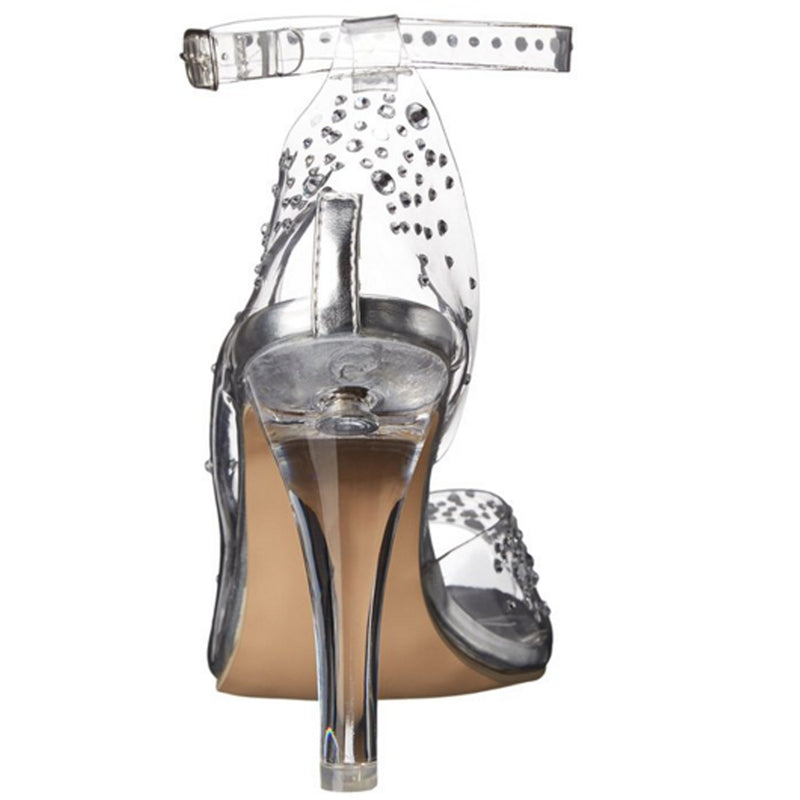 Clear Lucite D'Orsay Open Toe Rhinestone Heels Shoes Fabulicious CLEARLY-430RS