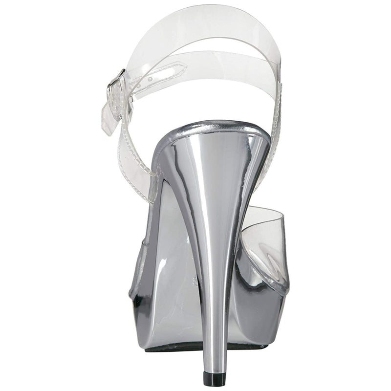 Clear Silver Events Bridal Prom Platform Ankle Strap Sandal High Heels Shoes