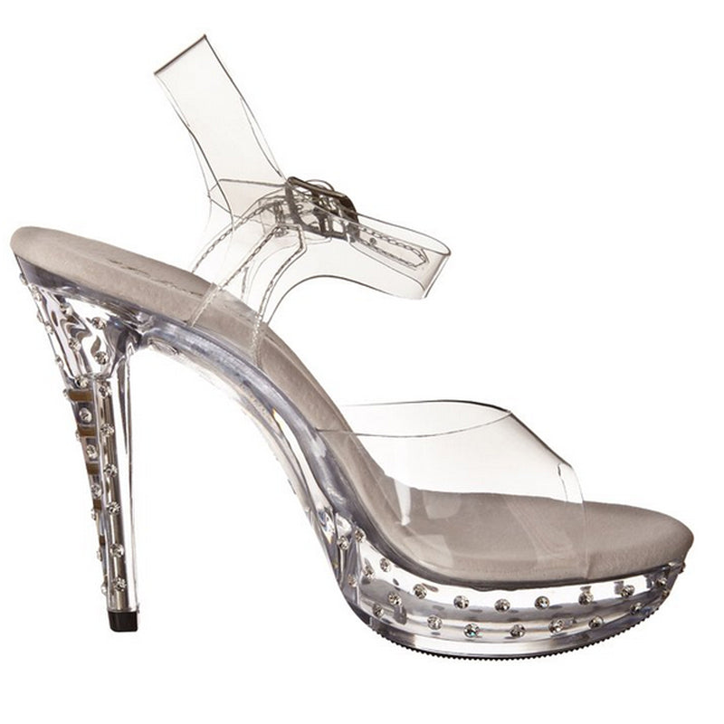 Clear Rhinestone Events Bridal Prom Platform Ankle Strap Sandal High Heels Shoes
