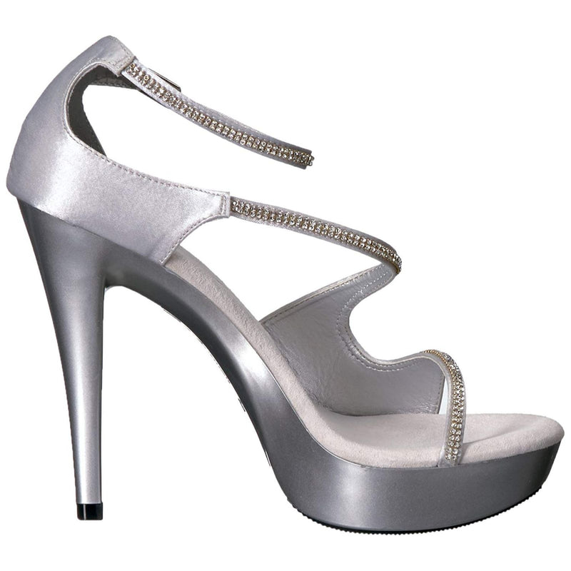 Silver Satin Rhinestone Party Prom Bridal Ankle Strap Sandal Shoes High Heels