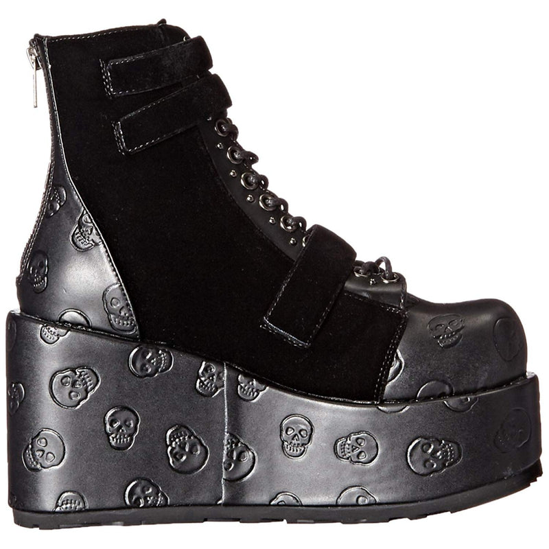 Black Biker Goth Punk Lace Up Ankle Boots Wedge Platform Scallop Studded Skull