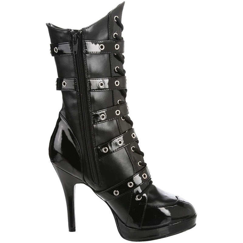 Black 5 Buckle Strap Costume Cosplay Halloween Calf-High Boot FUNTASMA Cop-911