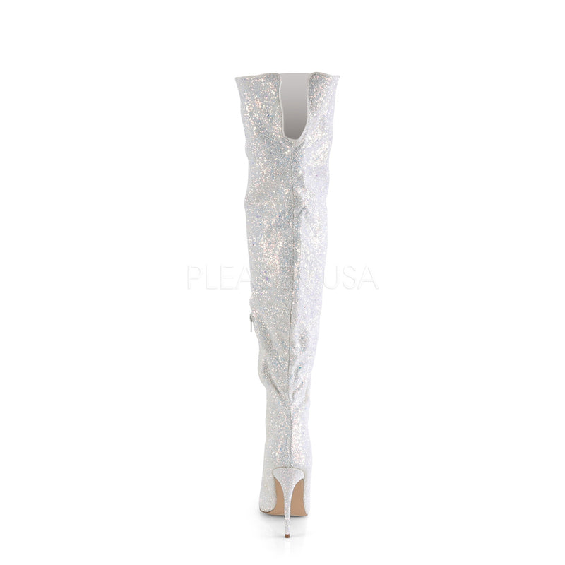 White Glitter Shimmer Thigh High Boots Sexy Exotic Dancer Clubwear High Heel