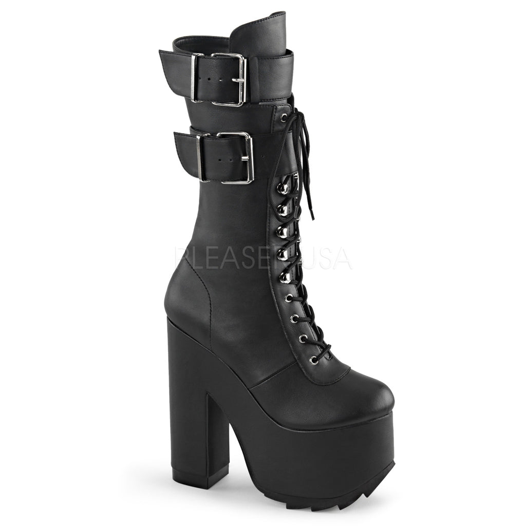 Black Lace Up Alternative Knee High Boots Platform Buckled Straps Goth Punk Rave
