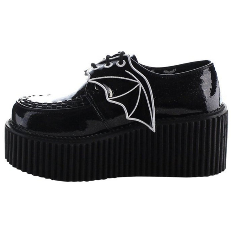 Black Glitter Vinyl Platform Women Punk Goth Creepers Shoes Alternative Bat Wing