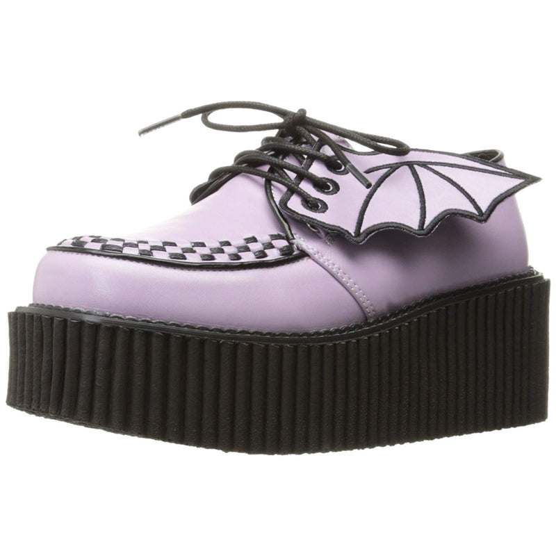 Lavender Vegan Leather Goth Punk Platform Creepers Shoes Alternative Bat Wings