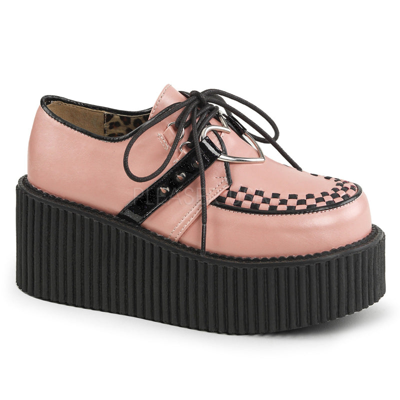 Baby Pink Vegan Leather Womens Creepers Platform Shoes Goth Punk Alternative