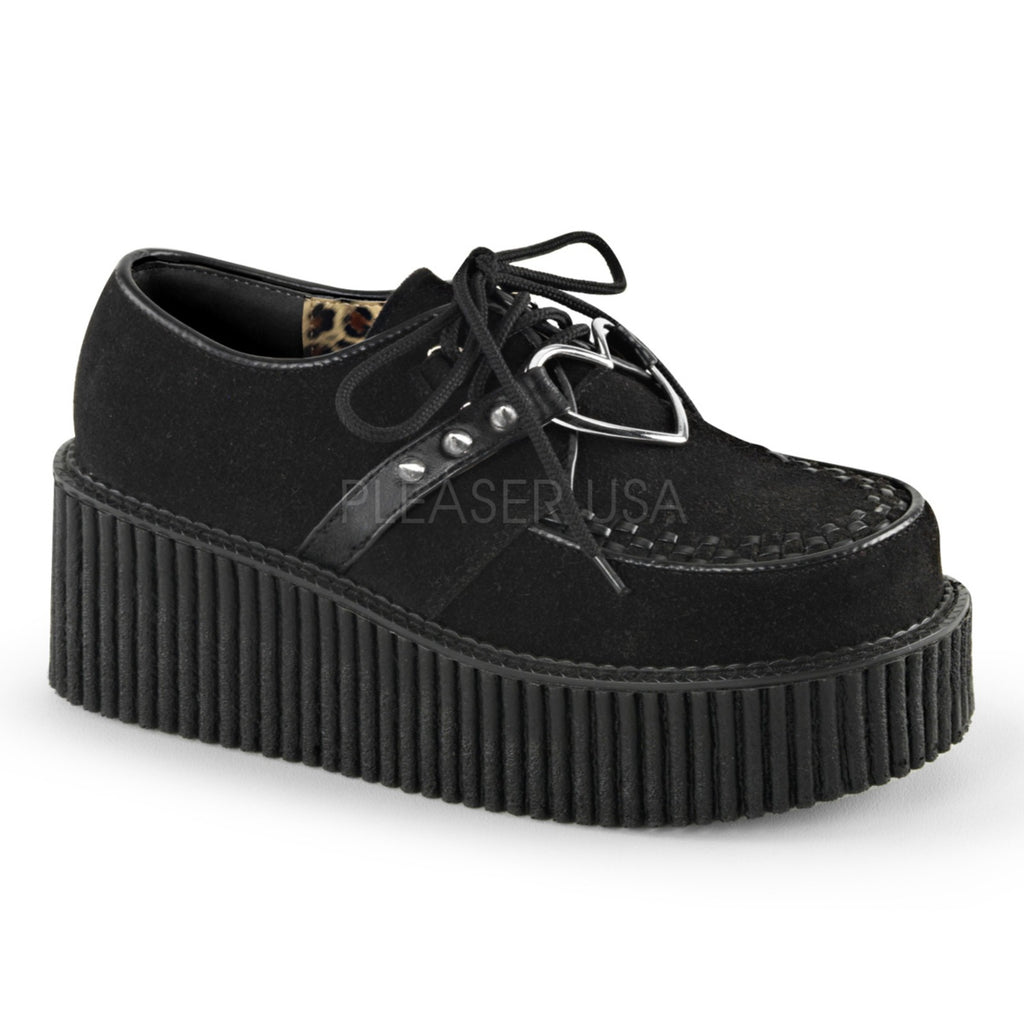 Black Vegan Suede Womens Creepers Platform Shoes Goth Punk Gothic Alternative