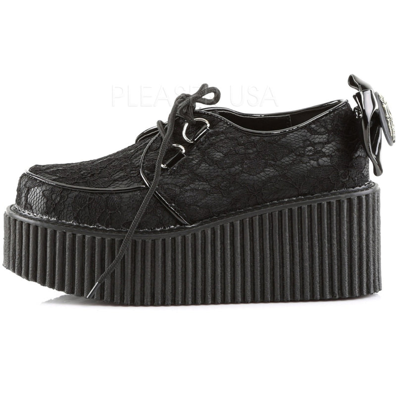 Black Lace Platform Creepers Shoes Lolita Goth Punk Skeleton Bow Alternative