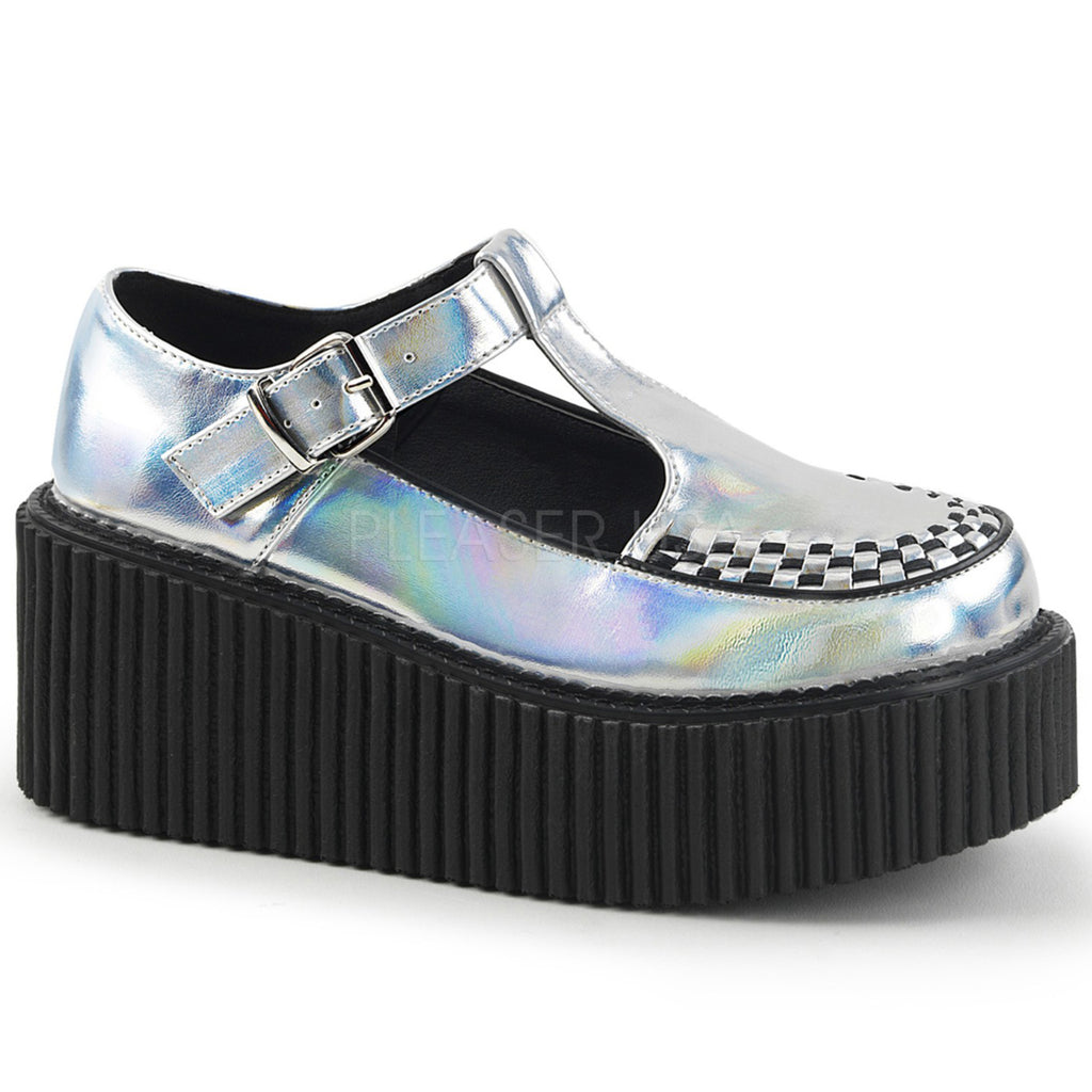 Silver Hologram Platform T-Strap Mary Jane Creeper Shoes Gothic Punk Alternative