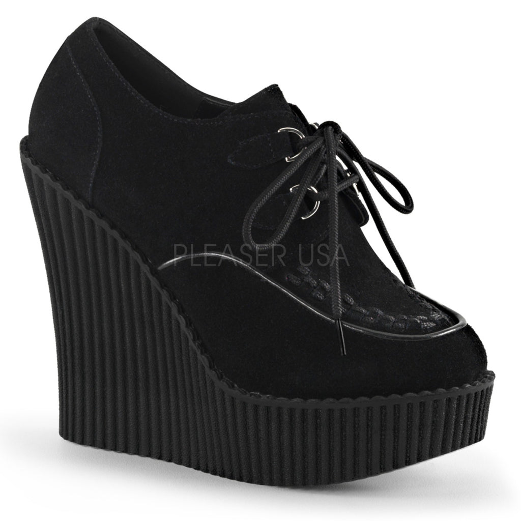 Black Vegan Suede Wedge Platform D-Ring Lace-Up Oxford Creeper Shoes Goth Punk