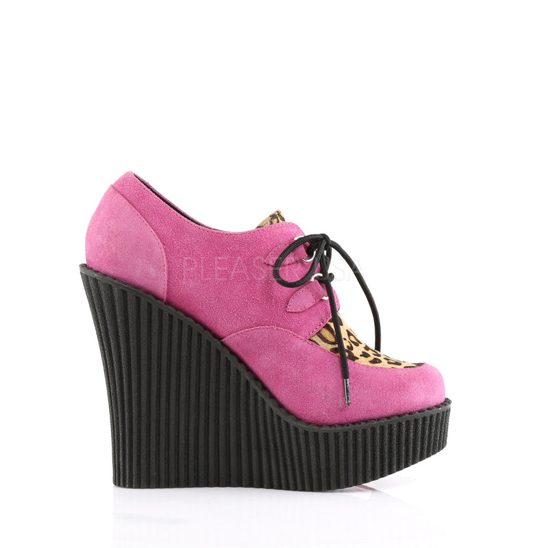 Hot Pink Wedge Platform Lace-Up Oxford Creeper Shoes Goth Punk Leopard Print