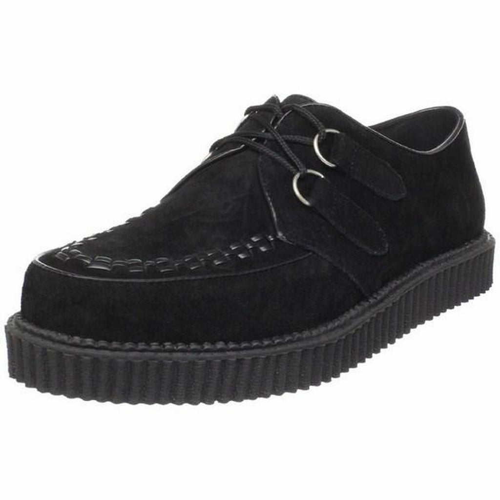 Black Suede Mens Casual Lace Up Creepers Shoes Rockabilly Goth Punk Alternative