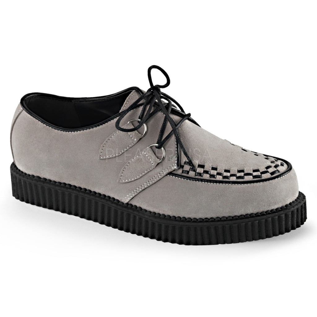 Gray Suede Mens Casual Lace Up Creepers Shoes Rockabilly Goth Punk Alternative