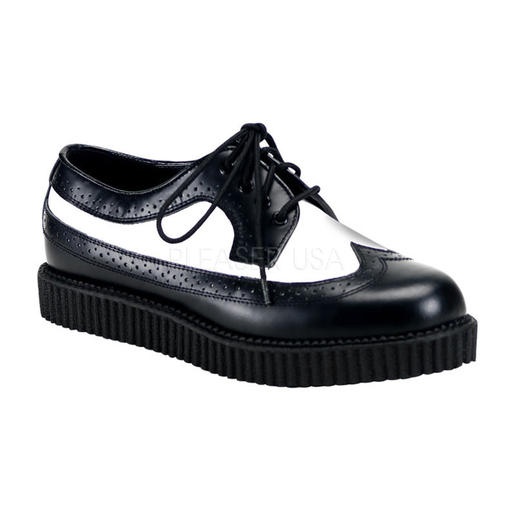 Black White Leather Mens Oxford Creepers Shoes Rockabilly Goth Punk Alternative