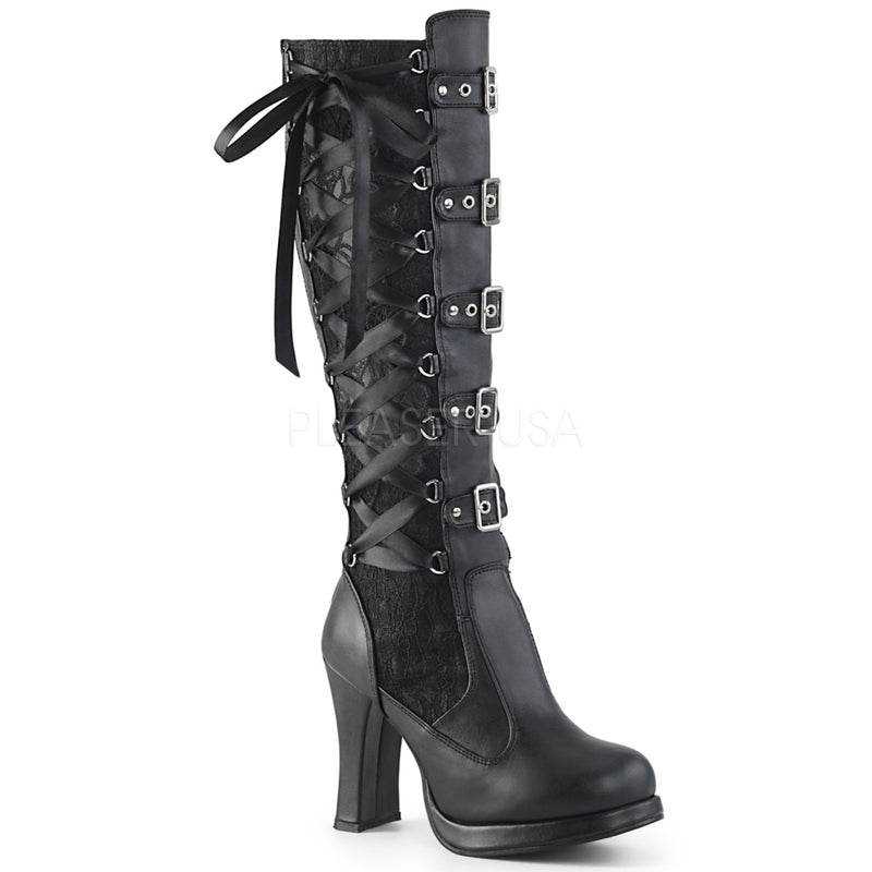 Black Vegan Leather Lace Corseted Knee High Boots Platform Lolita Goth Punk