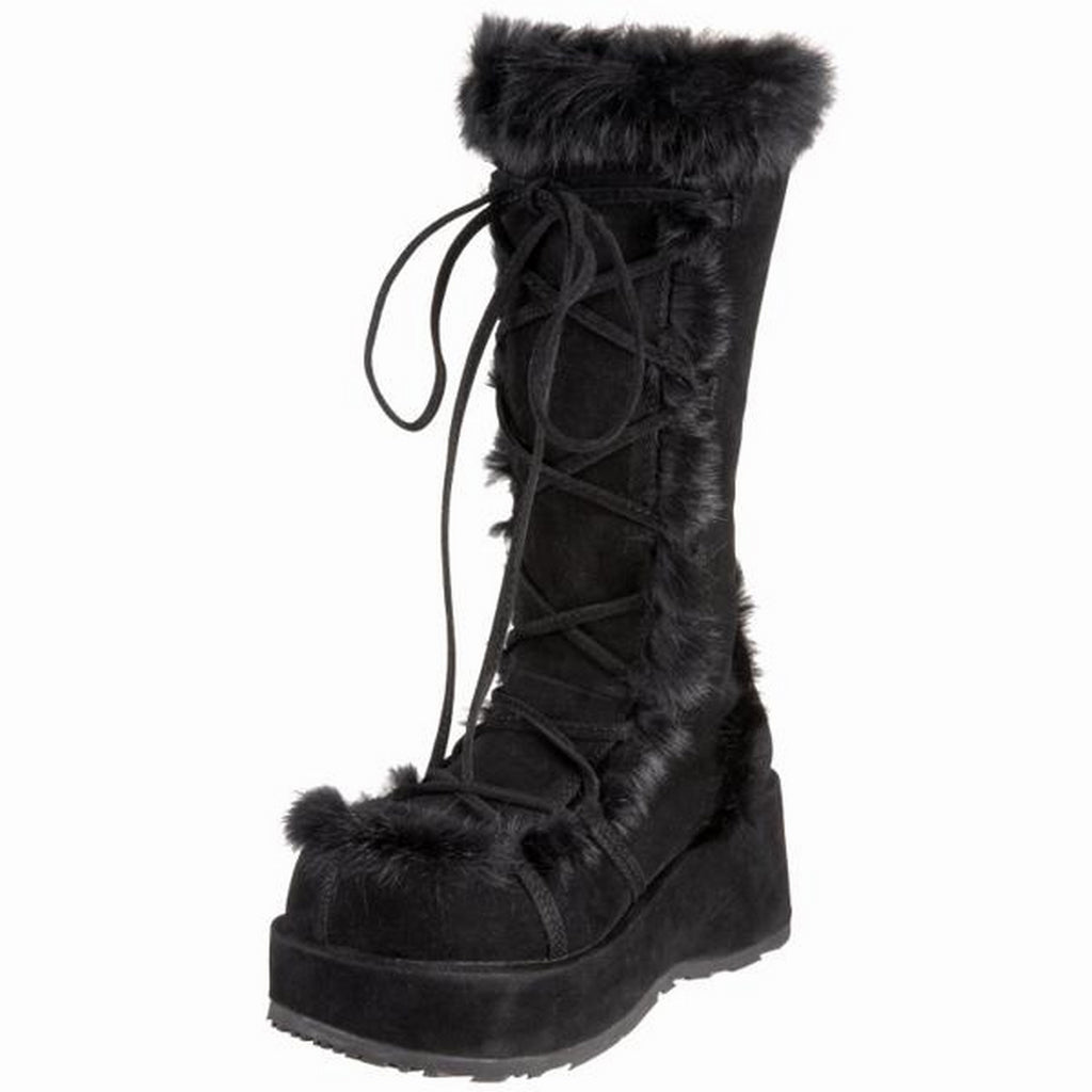 Black Vegan Suede Wedge Platform Knee High Boots Fur Gogo Goth Punk Alternative