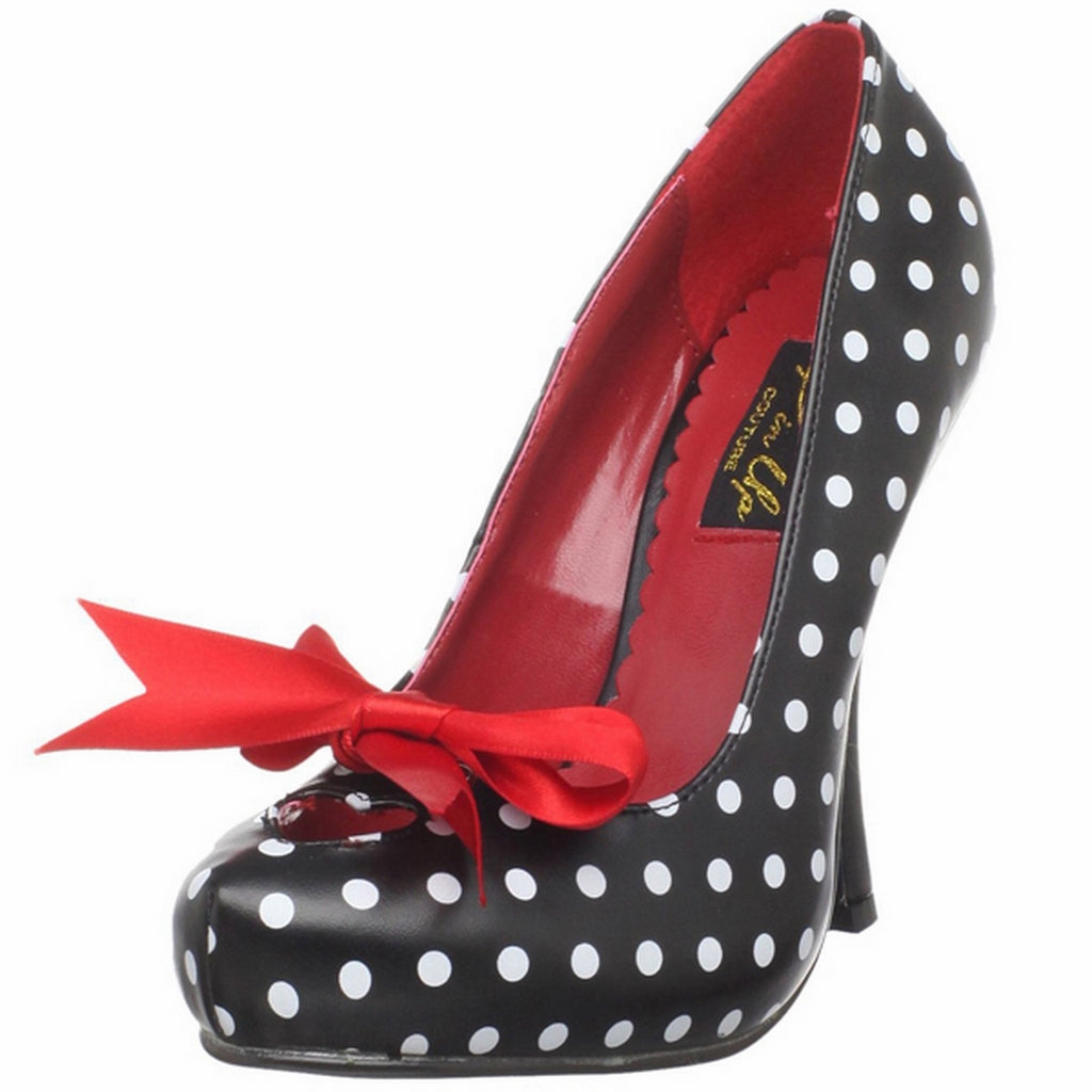 Black White PU Pumps Platform Polka Dots Dress Vintage Retro High Heels Shoes