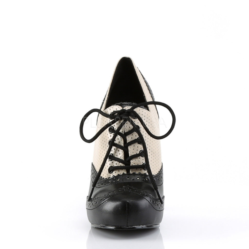Cream Black PU Oxford Pumps Platform Vintage Retro Rockabilly High Heels Shoes