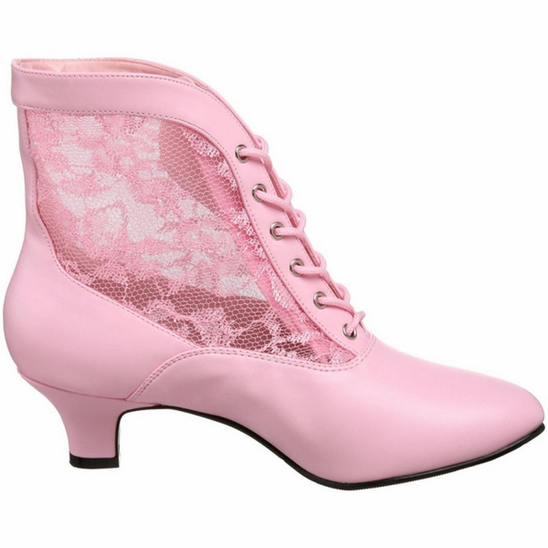 Baby Pink Lace Costume Cosplay Halloween Ankle High Boot FUNTASMA Dame-05 Series