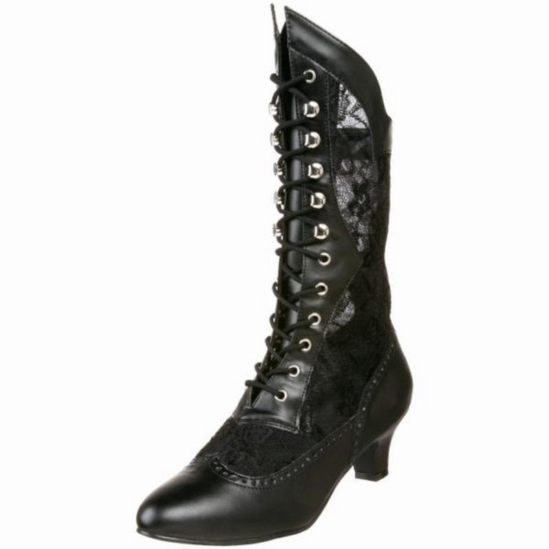 Black Kitten Heel Vintage Victorian Granny Upper Lace Up Ankle Boot DAME-115