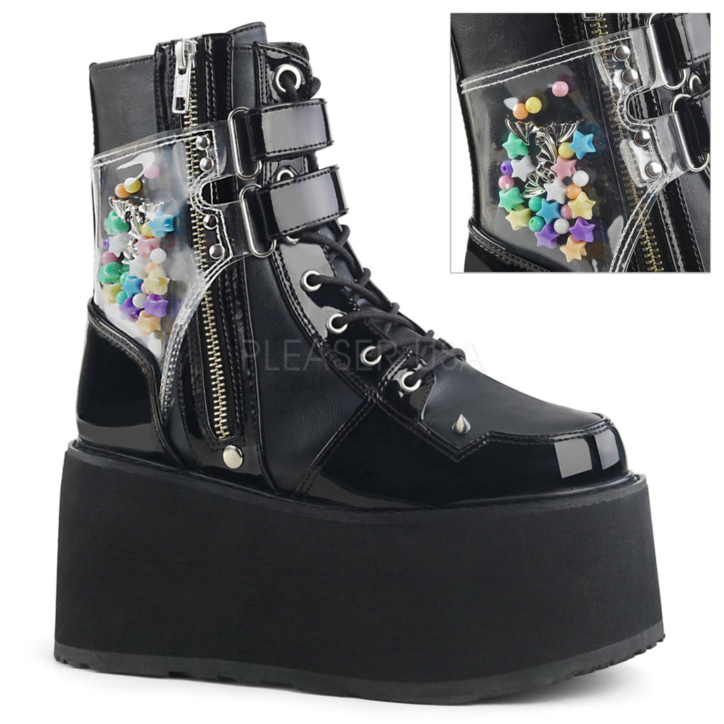Black Vegan Leather Womens Lace-Up Raver Goth Punk Platform Ankle High Boots