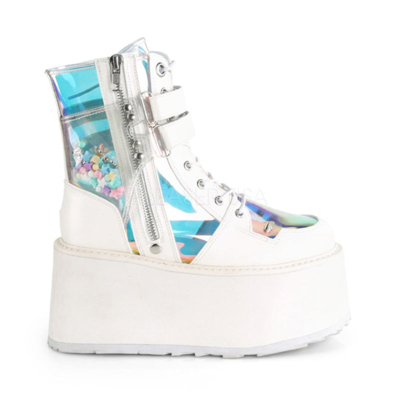 White Vegan Leather Womens Lace-Up Raver Goth Punk Platform Ankle High Boots
