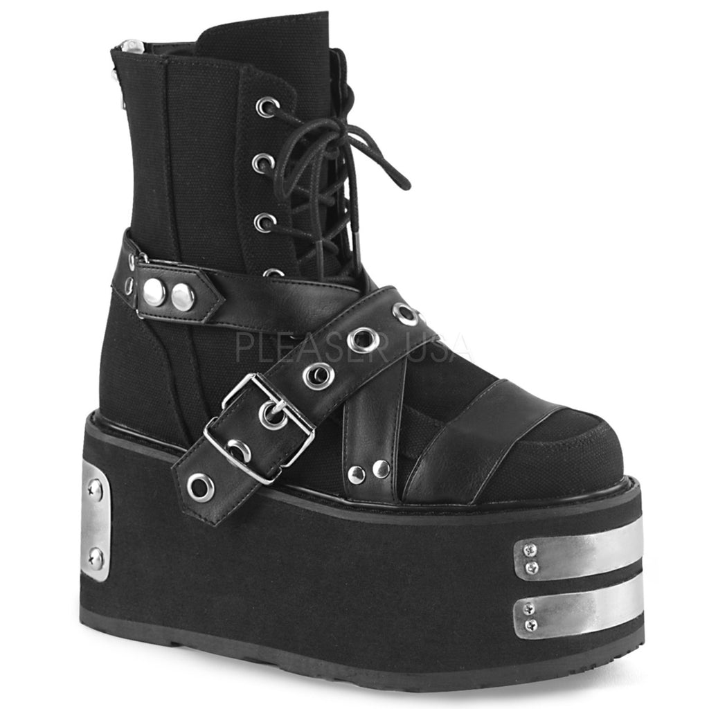 Black Canvas Vegan Leather Womens Platform Ankle Boots Buckle Straps Lace-Up Zip