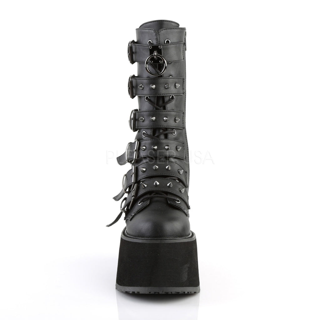 Black Wedge Platform Lace-Up Front Mid-Calf Boots Womens Goth Punk 6 Buckles