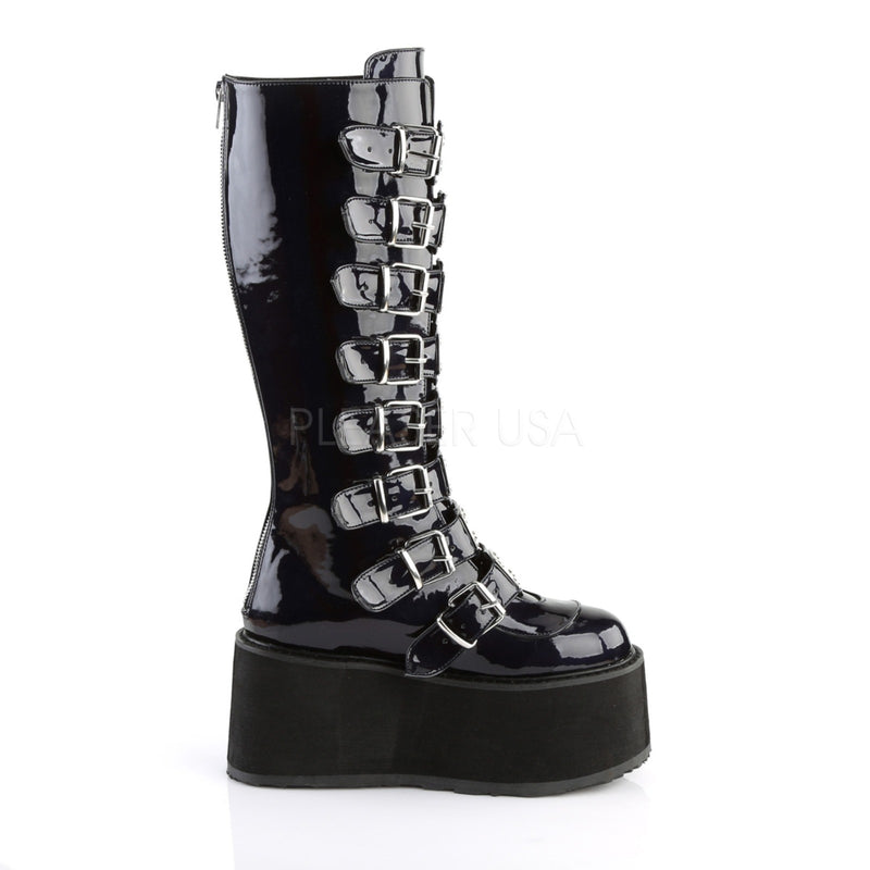 Black Hologram Goth Punk Alternative Multi Buckles Zip Knee High Platform Boots