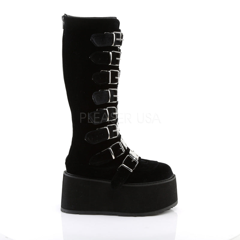 Black Velvet Goth Punk Alternative Multi Buckles Womens Knee High Platform Boots