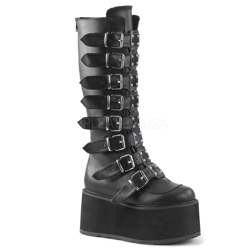 Black Goth Punk Biker Alternative Multi Buckles Womens Knee High Platform Boots
